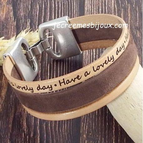 Kit tutoriel bracelet cuir daim marron lovely day