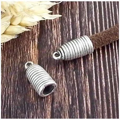 2 embouts cloche argent rayés pour cuir 5mm