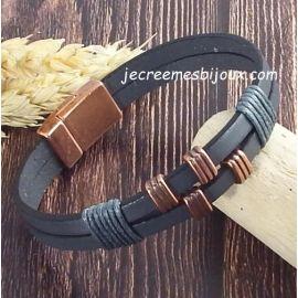 Kit tutoriel bracelet cuir et coton cire homme anthracite et cuivr