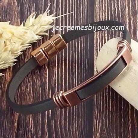 Kit bracelet cuir taupe et cuivré 2961
