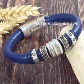Kit bracelet cuir regaliz bleu ethnique argent