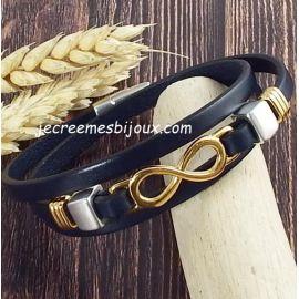 Kit bracelet cuir noir trois tours infini or et argent