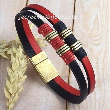 Kit tutoriel bracelet cuir noir et rouge bronze
