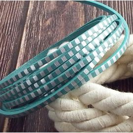 Cuir plat 3mm vert ocean raye argent