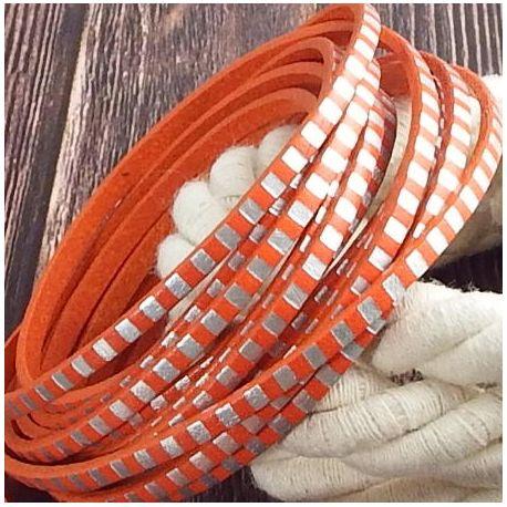Cuir plat 3mm orange raye argent