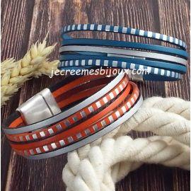 Kit bracelet cuir fin raye argent
