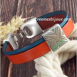 Kit bracelet cuir orange et turquoise geometriqueargent