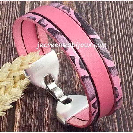 Kit tutoriel bracelet cuir daim sable et savane argent