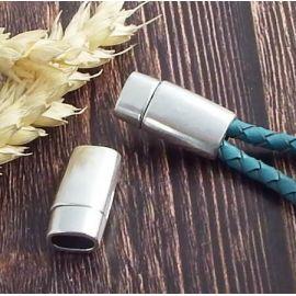 fermoir magnetique plaque argent pour cuir demi rond