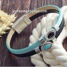 Kit bracelet cuir turquoise et noir