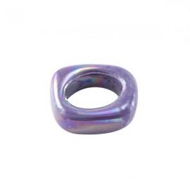 Perle passante ceramique mauve pour cuir regaliz
