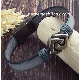Kit bracelet cuir gris avec passant grec et fermoir et gun metal avec tutoriel