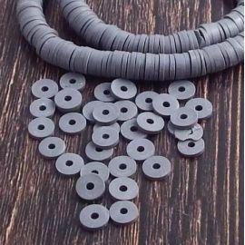 Perles Heishi gris fonce