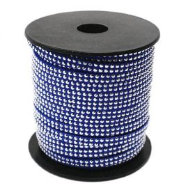 Cordon suedine bleu gitane 5mm avec 2 rangs de strass