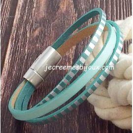 Kit bracelet cuir turquoise pastel raye argent