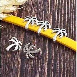 2 Passants cuir palmier fin plaque argent pour cuir plat 5mm