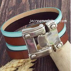 Kit bracelet cuir manchette rock marron et turquoise pastel avec tutoriel