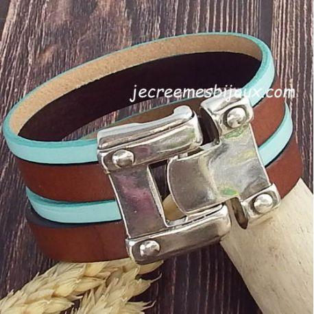 Kit bracelet cuir turquoise geometrique avec tutoriel