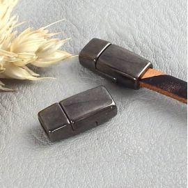 Petit fermoir magnetique GUN METAL pour cuir plat 5mm