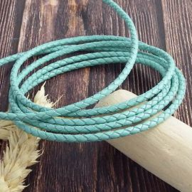 Cordon cuir rond tresse vert ocean 3MM par 20cm