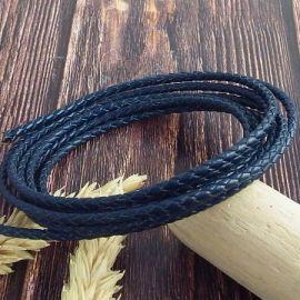 Cordon cuir rond tresse bleu marine 3MM par 20cm