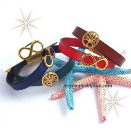 Kit bracelet cuir couleur avec passant et fermoir or