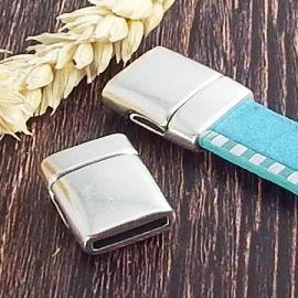 Fermoir magnetique plat RARE argent pour cuir 13mm