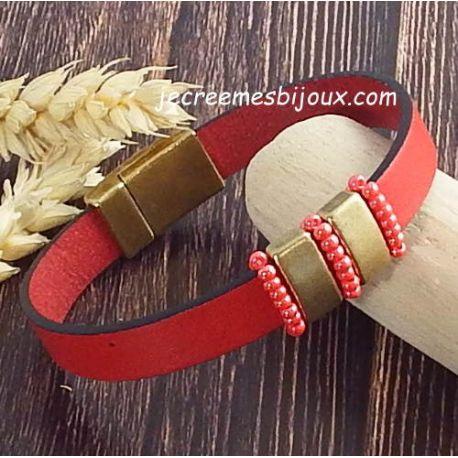 Kit tutoriel bracelet cuir rouge bronze rocailles boho style