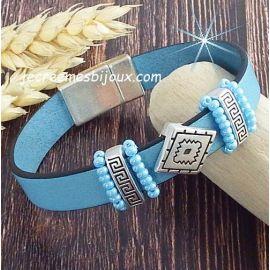 Kit tutoriel bracelet cuir bleu ciel et argent rocailles boho style