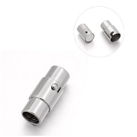 Fermoir aimante acier inoxydable pour cuir 5mm
