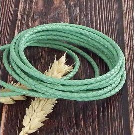 Cordon cuir rond tresse vert jade 3MM par 20cm
