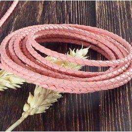 Cordon cuir rond tresse rose 3MM par 20cm