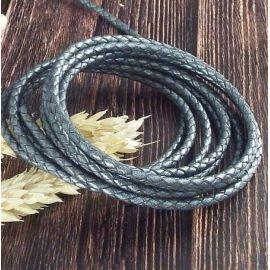 Cordon cuir rond tresse gris ardoise 3MM par 20cm
