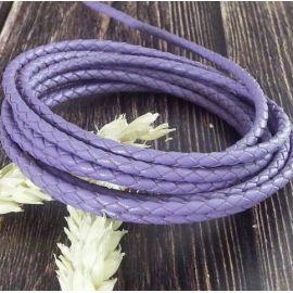 Cordon cuir rond tresse violet 3MM par 20cm