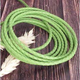 Cordon cuir rond tresse vert 3MM par 20cm
