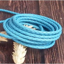 Cordon cuir rond tresse turquoise 3MM par 20cm