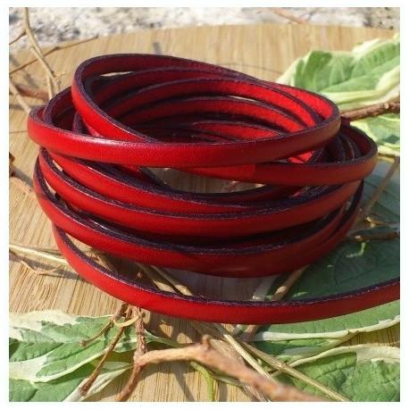 cuir plat 5mm rouge en gros
