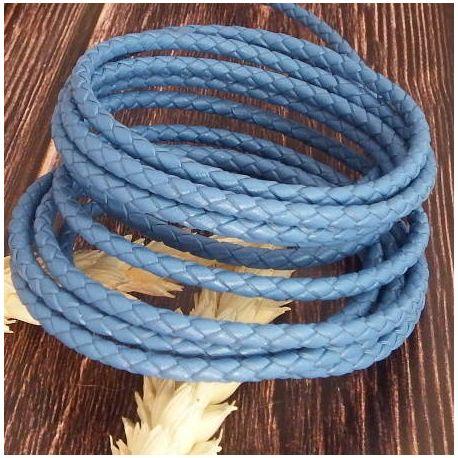 Cordon cuir rond tresse bleu jean 3MM par 20cm
