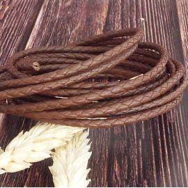 Cordon cuir rond tresse marron 3MM par 20cm