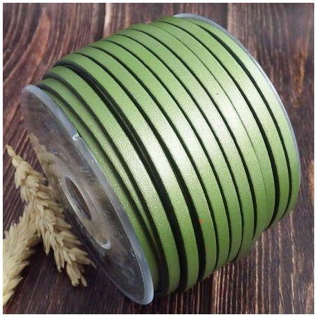 Cuir plat 5mm nacre vert
