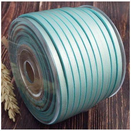 Cuir plat 5mm nacre bleu
