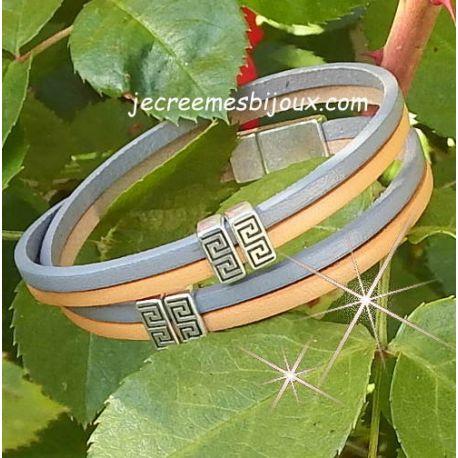 Kit tutoriel bracelet cuir gris et orange pastel fermoir argent