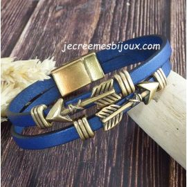 Kit bracelet cuir apache boho bleu metal et bronze