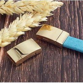 Fermoir plat eco laiton dore cuir plat 10mm
