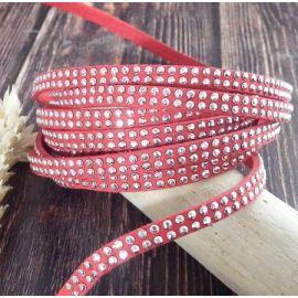 Cordon suedine rouge 5mm avec 2 rangs de strass