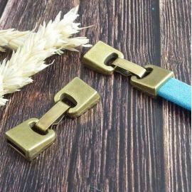 Fermoir clip zamak plaque bronze pour cuir 10mm