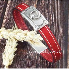 Kit bracelet cuir coutures rouge avec etrier argent