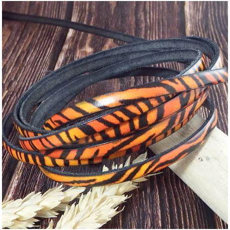 Cuir plat 5mm imprime tigre orange et noir