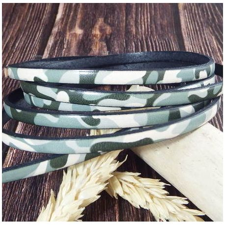 Cuir plat 5mm imprime camouflage kaki blanc vert