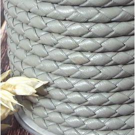 Cordon cuir rond tresse gris clair 4MM par 20cm